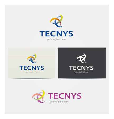 Technology Icon, Logo for Corporate Business, Card Mock up in Several Colors Illustration