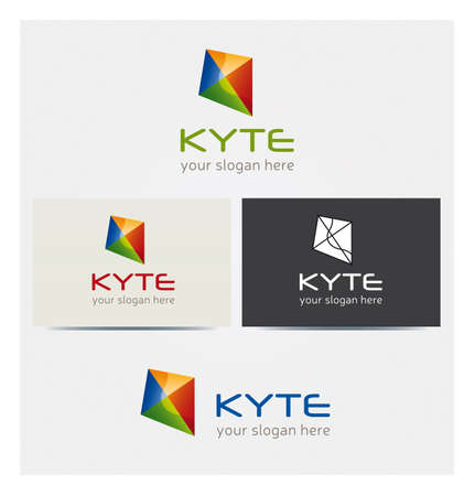Kyte Shape Logo, Business Icon, Card Mock Up in Several Colors