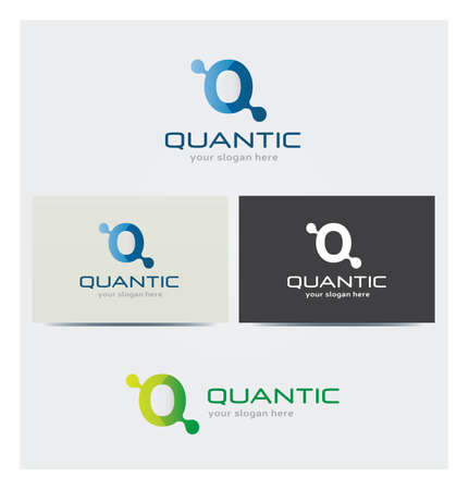 Letter Q Icon, Logo for Corporate Business, Card Mock up in Several Colors  イラスト・ベクター素材