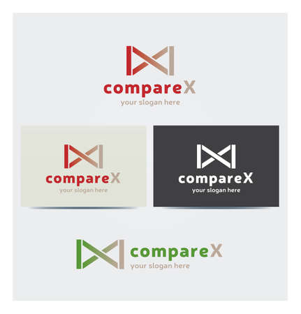 Infinity Icon, X Letter Logo for Corporate Business with Card Mock up in Several Colors