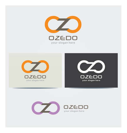 Letter O and Z Icons, Logo for Corporate Business, Card Mock up in Several Colors