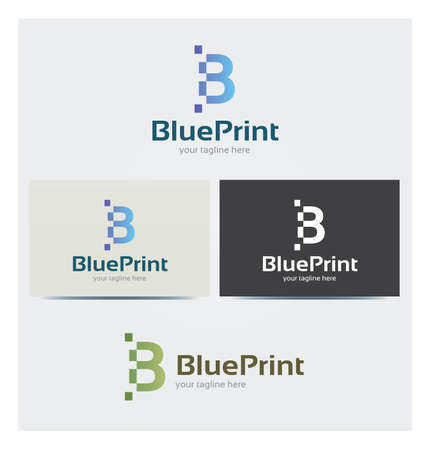 Letter B Icon, Logo for Corporate Business, Card Mock up in Several Colors