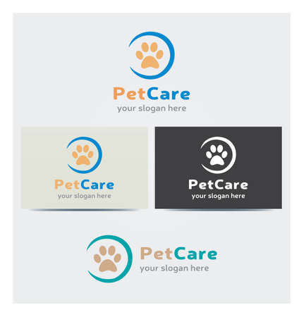 Animal Footstep Icon, Logo for Pet Care Business, Card Mock up in Several Colors
