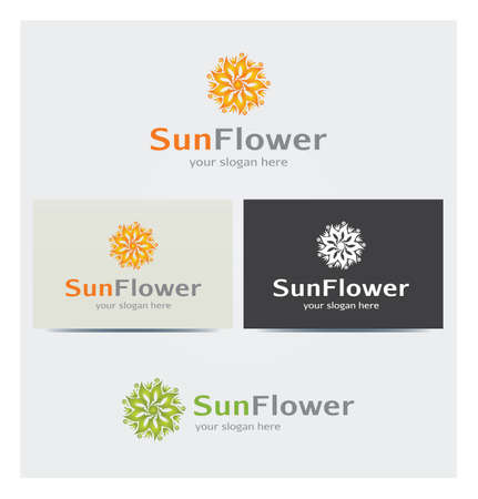 Sun and Flower Icon, Logo for Business, Cards Mock up in Several Colors