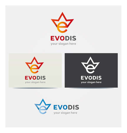 Letter E Icon with Crown, Logo for Corporate Business, Card Mock up in Several Colors