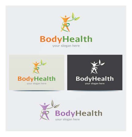 Body, Foliage and Leaves Icon, Logo for Health Business, Cards Mock up in Several Colors