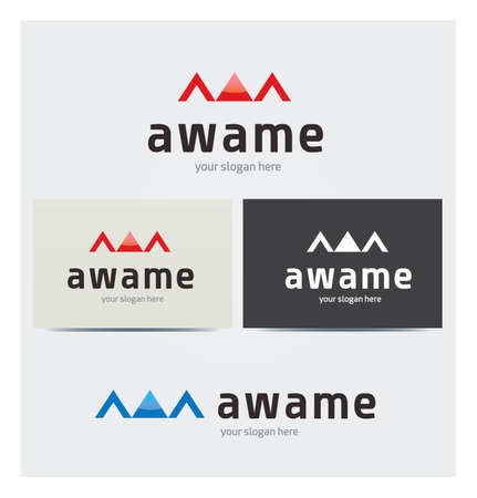 Letter W Icon, Logo for Corporate Business, Card Mock up in Several Colors