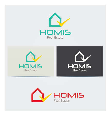 House Icon, Logo for Corporate Business, Card Mock up in Several Colors