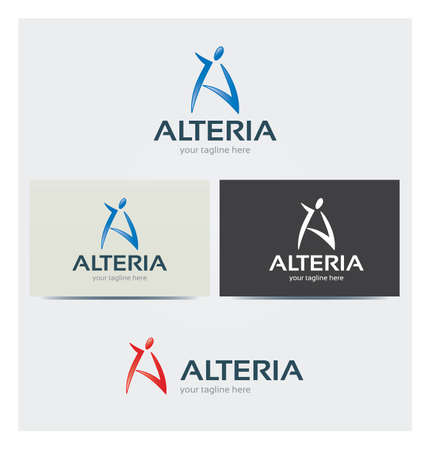 Letter A Icon, Logo for Business, Card Mock up in Several Colors Illustration