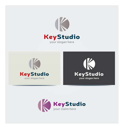 Letter K Icon, Logo for Corporate Business, Card Mock up in Several Colors