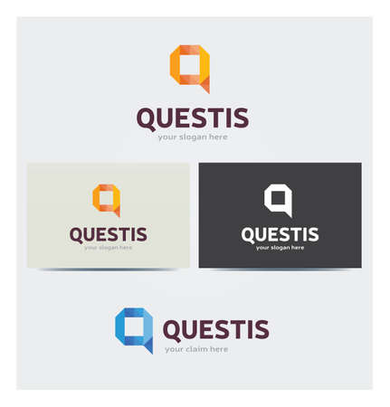 Letter Q Icon, Logo for Corporate Business, Card Mock up in Several Colors Illustration