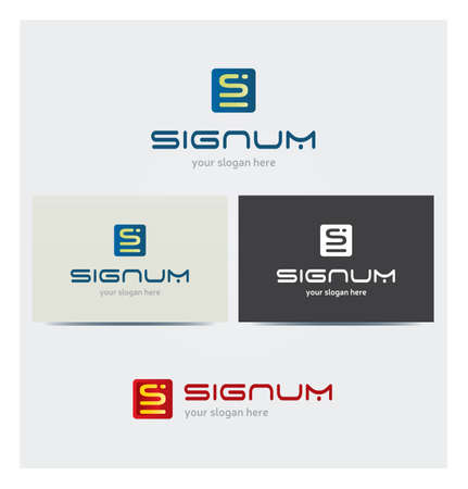 Letter S Icon, Logo for Corporate Business, Card Mock up in Several Colors