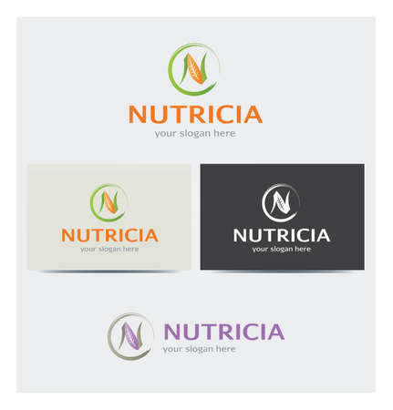 Letter N Icon, Logo for Corporate Business, Card Mock up in Several Colors