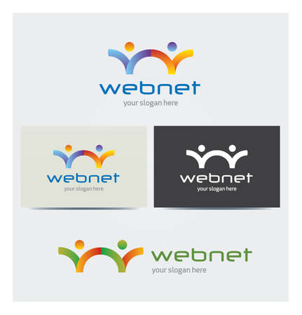 Letter W Network Icon, Logo for Corporate Business, Card Mock up in Several Colors Illustration