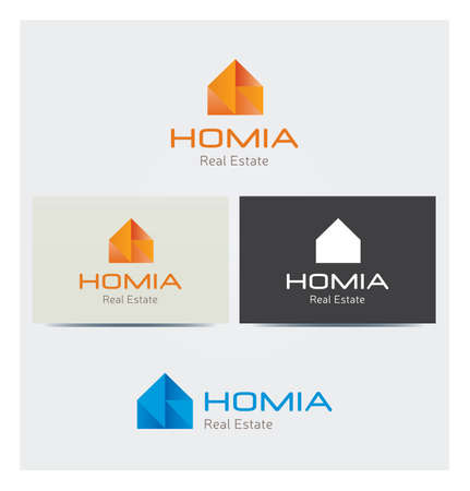 House Icon, Logo for Corporate Business with Card Mock up in Several Colors