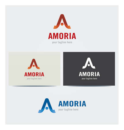 Letter A Icon for Business Card Logo, Mock up in Several Colors Illustration