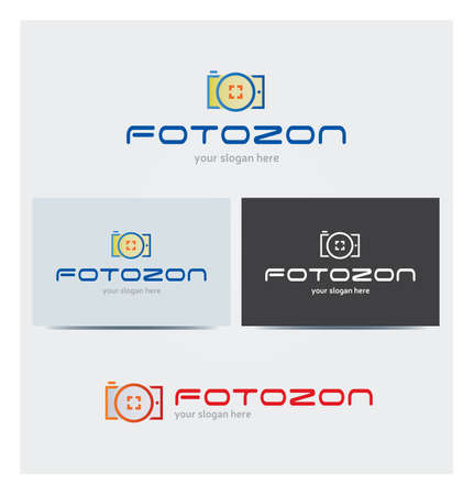 Camera Icon, Photograph Logo for Corporate Business with Card Mock up in Several Colors