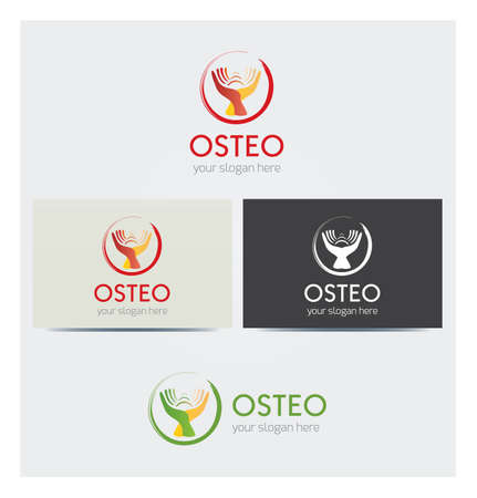 Hands Icon, Logo for Medical Healthcare Business, Card Mock up in Several Colors  イラスト・ベクター素材