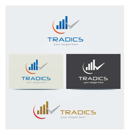 Trading and Stock Market Business Icon, Logo Card Mock up in Several Colors