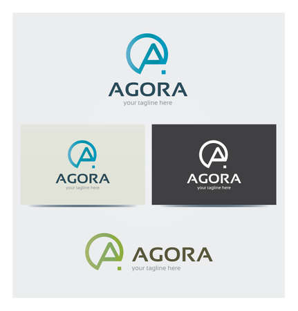 Letter A Icon, Logo for Corporate Business, Card Mock up in Several Colors