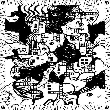 Coloring Page Book for Adults Square Format Landscape Map Style Design Vector Pattern