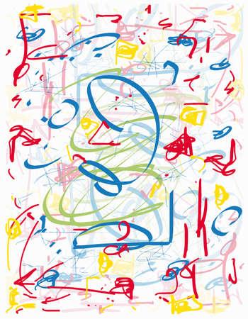 Doodle Handdrawn Pop Design, Primary Colors, Abstract Vibrant Line Illustration, Tablet Notebook Sketch