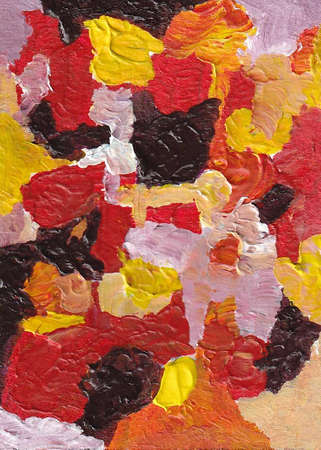 Modern Abstract Digital Illustration - Contemporary Painting Style - Red and Yellow Colors