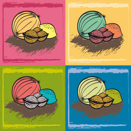 Set of Fruits - Melon, Walnuts and Lemon - 4 Hand drawn Digital Illustrations, Vegetarian Vegan Healthy Natural Food Icons on different Colored Backgrounds