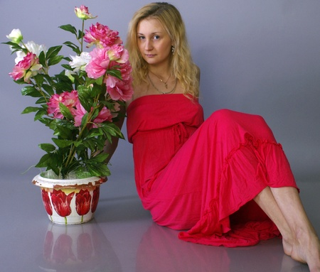 Girl and flowers Stock Photo - 17455041