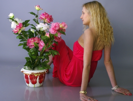 Girl and flowers Stock Photo - 17455042