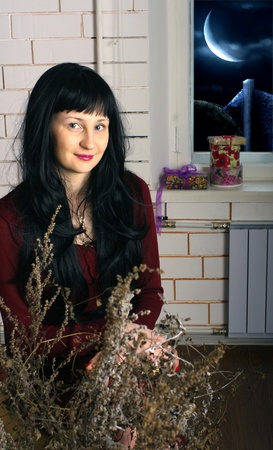 thrown glance: girl with long black hair