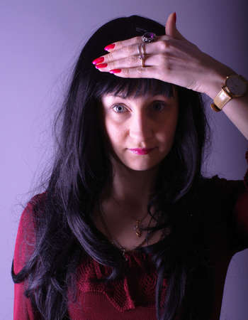 girl with long black hair photo