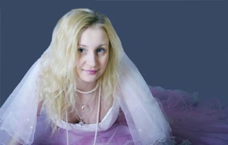 thrown glance: pink bride Stock Photo