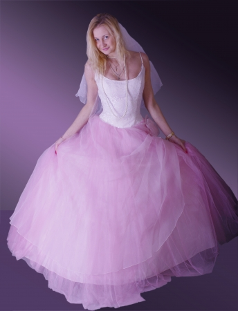 thrown glance: pink bride Stock Photo