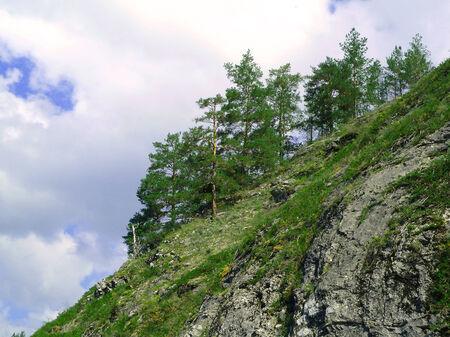 huge rock on background sky