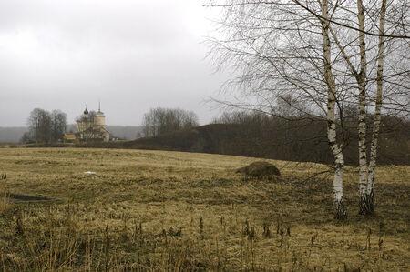 rural chapel in Russia, field