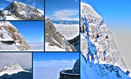 Snowy mountains in the Alps Stock Photo