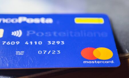 Rome Italy. December 29. 2019: credit cards MasterCard credit debit and electronic Editorial