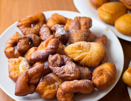 Delicious sweet donuts on a plate. close up, Traditional Jewish sweet dish from Hanukkah