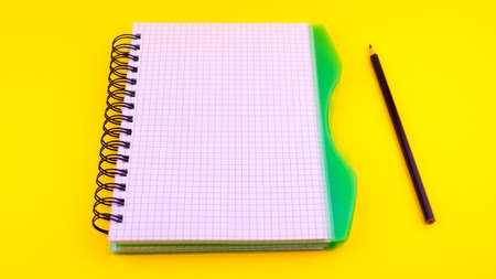 view of open notebook with pencil on yellow background, school notebooks with spiral spring, office notebook flat bookmark.