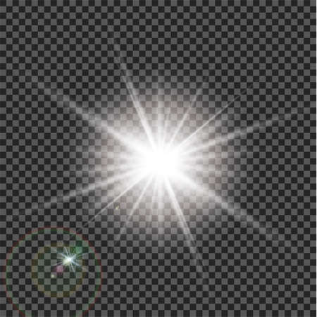Light effect with flare stars bursts with sparkles on transparent background.