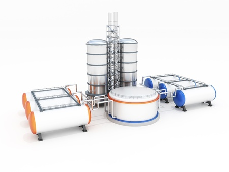 3d model of oil factory Stock Photo