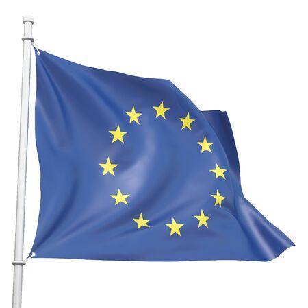 Eurounion 3d flag isolated on white Stock Photo - 17456742