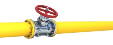 Yellow Rohr mit roten Ventilen isoliert auf weißem Hintergrund