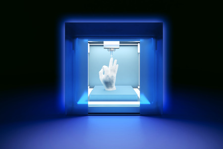 future: 3 rendered illustration of electronic three dimensional plastic printer, 3D printer, 3D printing