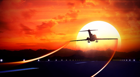takeoff: 3d rendered illustration of big jet passenger plane fly up over take-off runway from airport and fliyng out in sunset sky Stock Photo