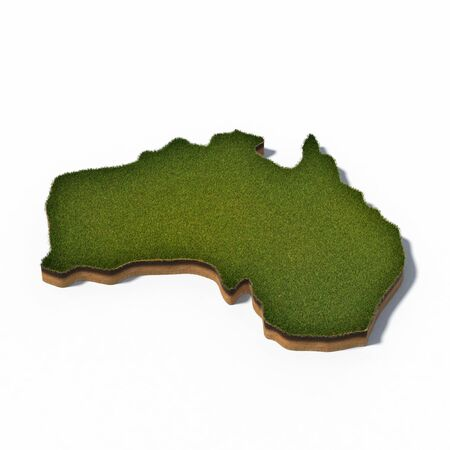 3d rendered illustration of cross section map Australia isolated on white
