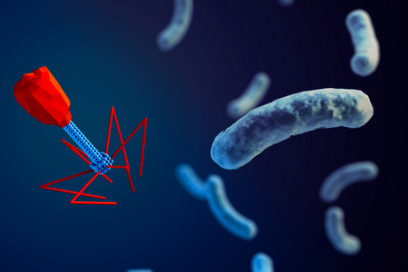 3d macro illustration of a bacteriophage attacking bacteria.