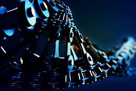 fietsketting: 3D macro-afbeelding van een fietsketting in de vorm van DNA met scherptediepte vervaging effecten