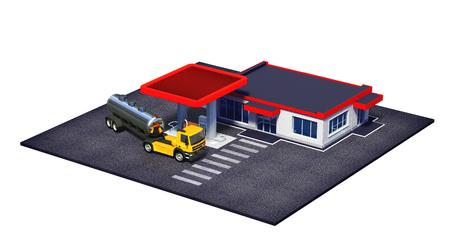 白で隔離燃料半トラックやミニマート コーヒー店とガソリン スタンドの 3 d レンダリングされたイラストレーション